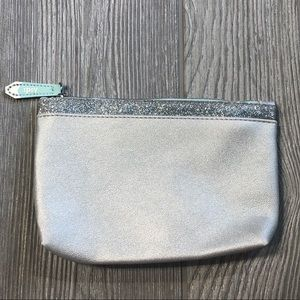 Silver Ipsy cosmetic makeup bag
